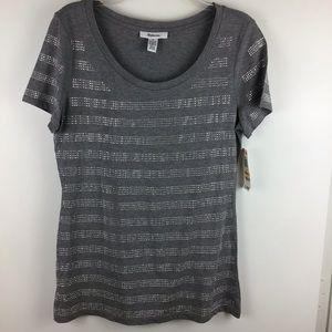 STYLE & CO Grey Studded Short Sleeve Tee Shirt NWT